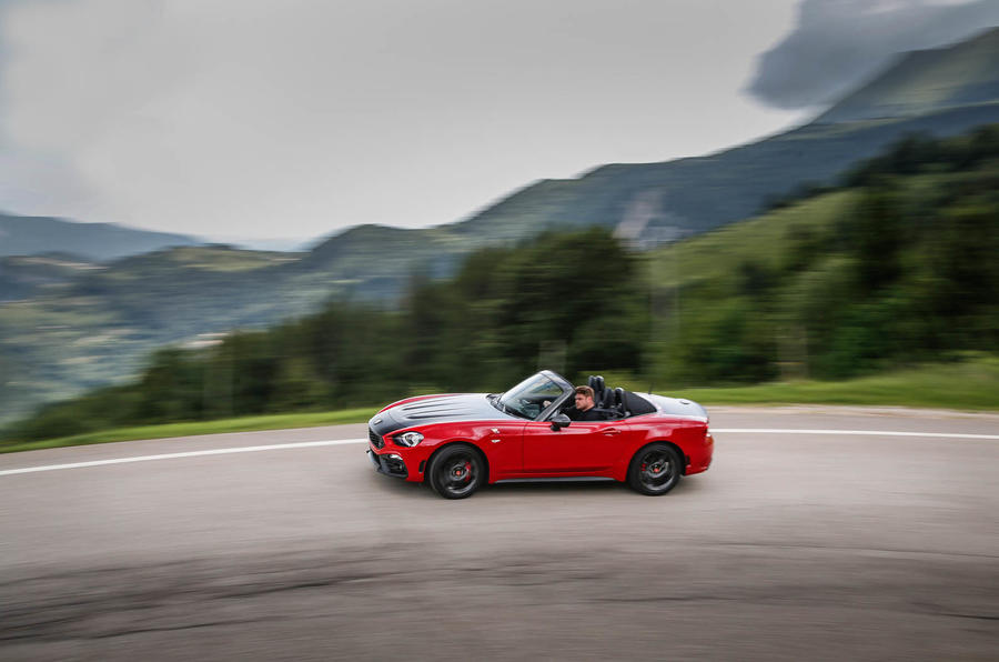 Abarth 124 Spider prototype cornering