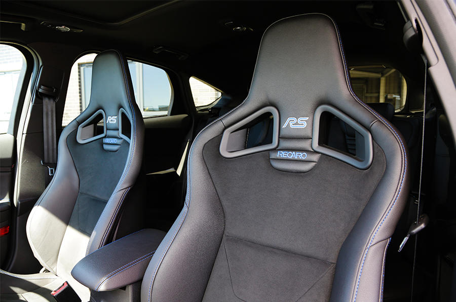 The Ford Focus RS includes branded Recaro bucket seats