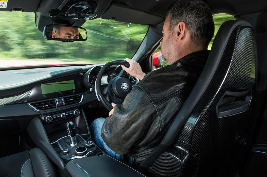 Allan Muir driving the Alfa Romeo Giulia Quadrifoglio