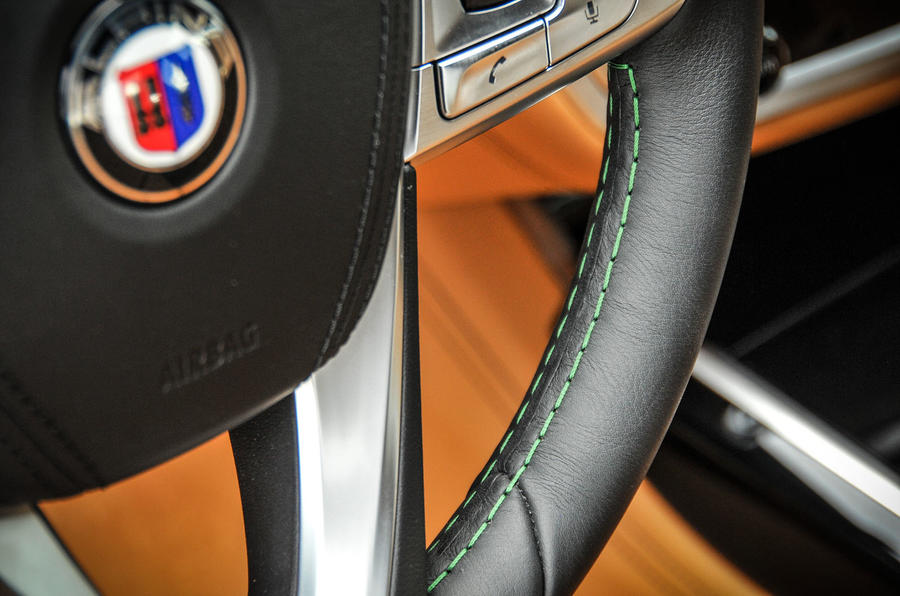 Alpina B7 green stitched steering wheel