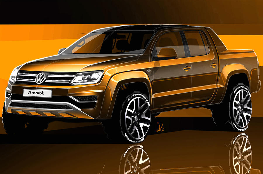 2016 vw amarok sketches revealed autocar. Black Bedroom Furniture Sets. Home Design Ideas