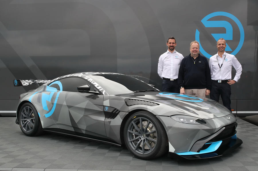 2020 Aston Martin Vantage Cup car - front with team