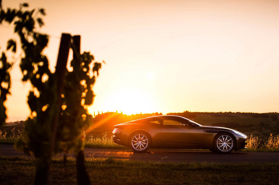 Aston Martin DB11 in the sunset