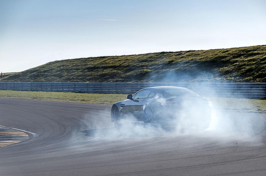 Aston Martin V12 Vantage S rear drifting