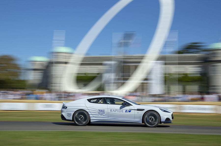 Aston Martin Rapide E on Goodwood hillclimb