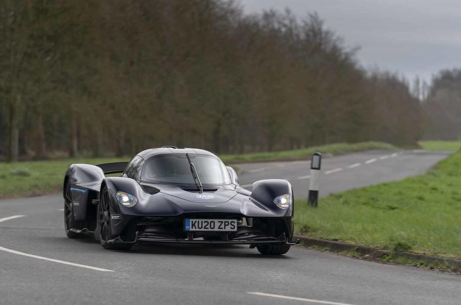 Aston Martin Valkyrie road testing front corner