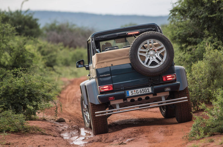 Mercedes-Maybach G650 Landaulet rear view on muddy track