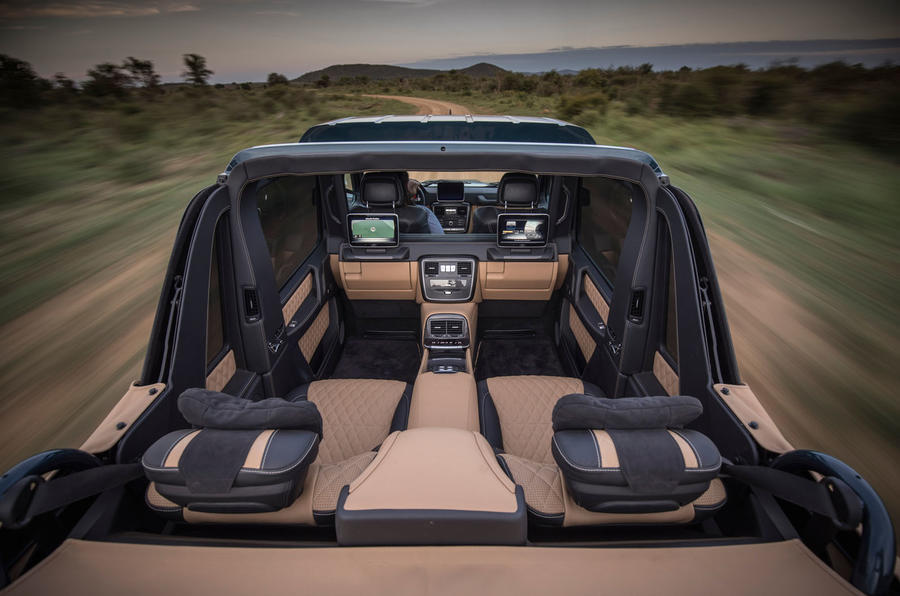 Mercedes-Maybach G650 Landaulet rear interior with roof down view