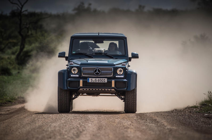 Mercedes-Maybach G650 Landaulet driving through dust