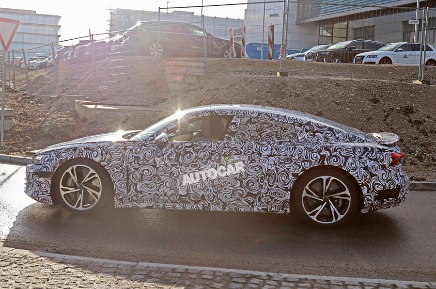 2021 Audi E-tron GT camouflaged prototype - side