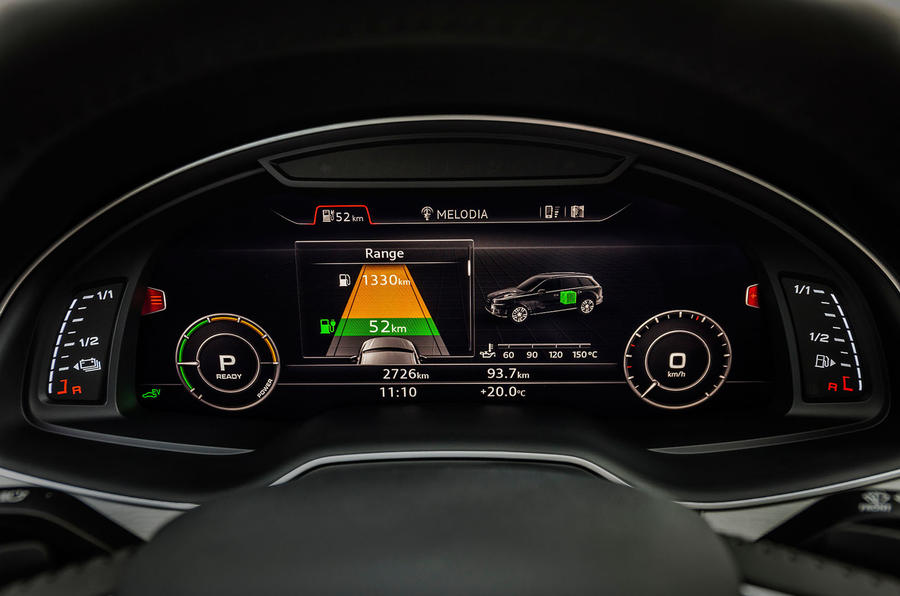 Audi Q7 e-tron electric range readout