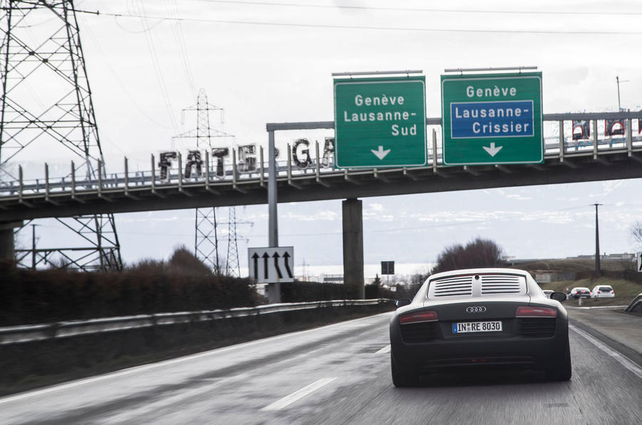Audi R8 e-tron on the autobahn