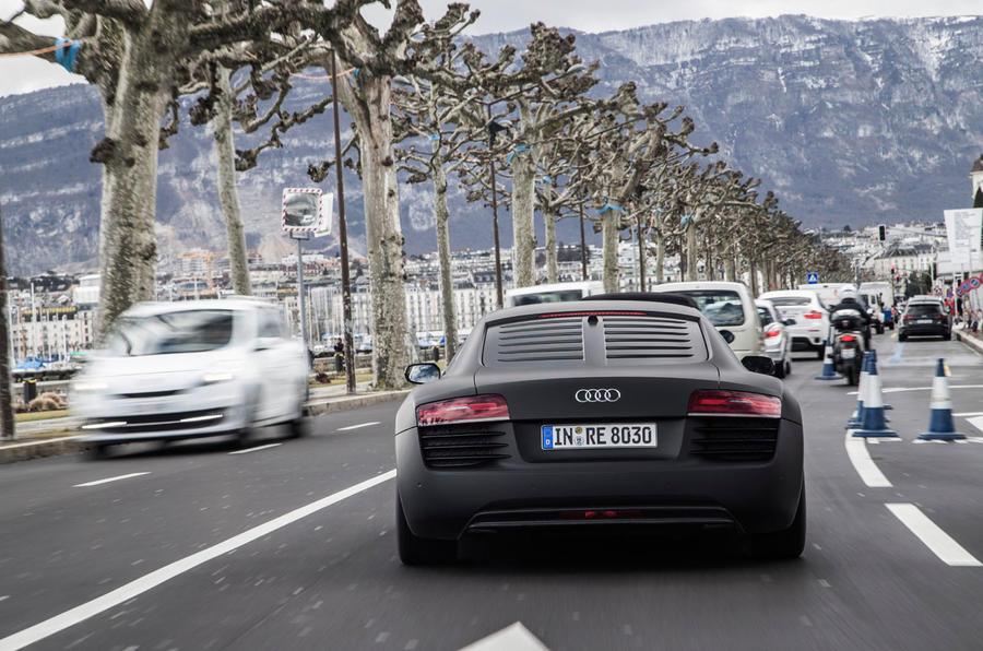 Audi R8 e-tron in traffic