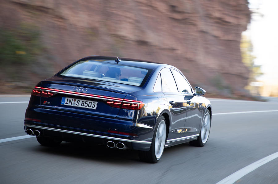 Audi S8 2019 first drive review - tracking rear