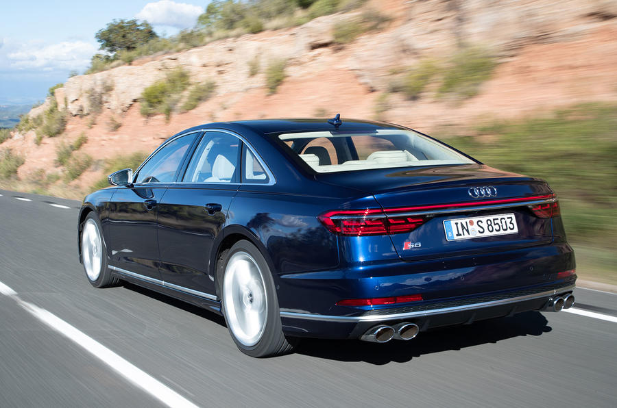Audi S8 2019 first drive review - on the road rear