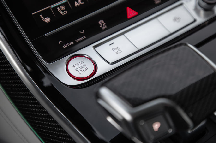 Audi S8 2019 first drive review - start button