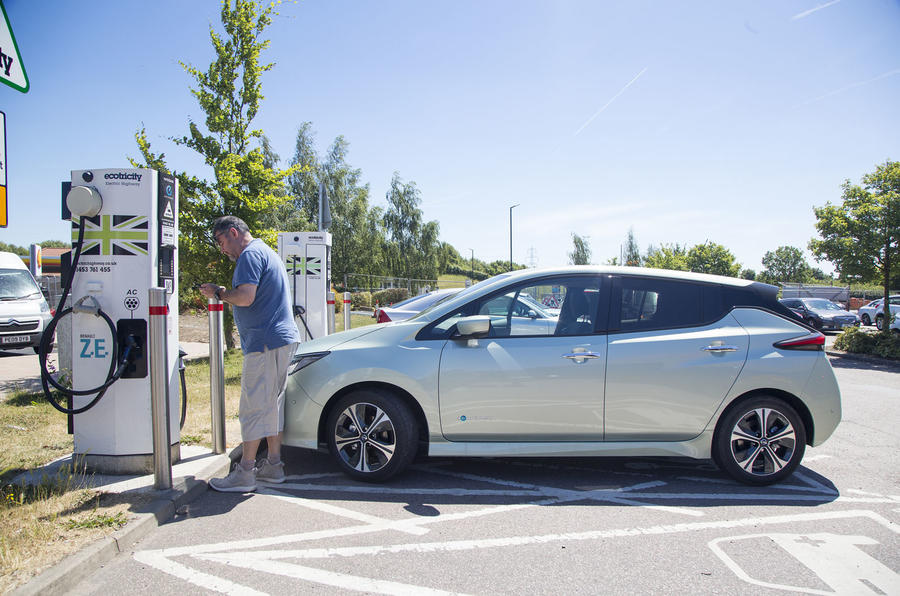 Nissan Leaf charging at Ecotricity facility