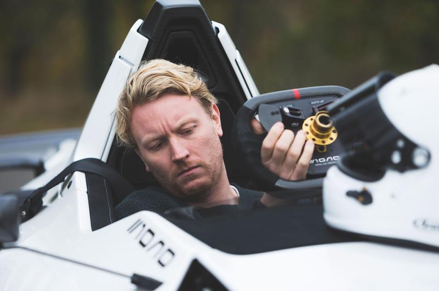 BAC Mono 2018 UK first drive review - Richard lane setting up