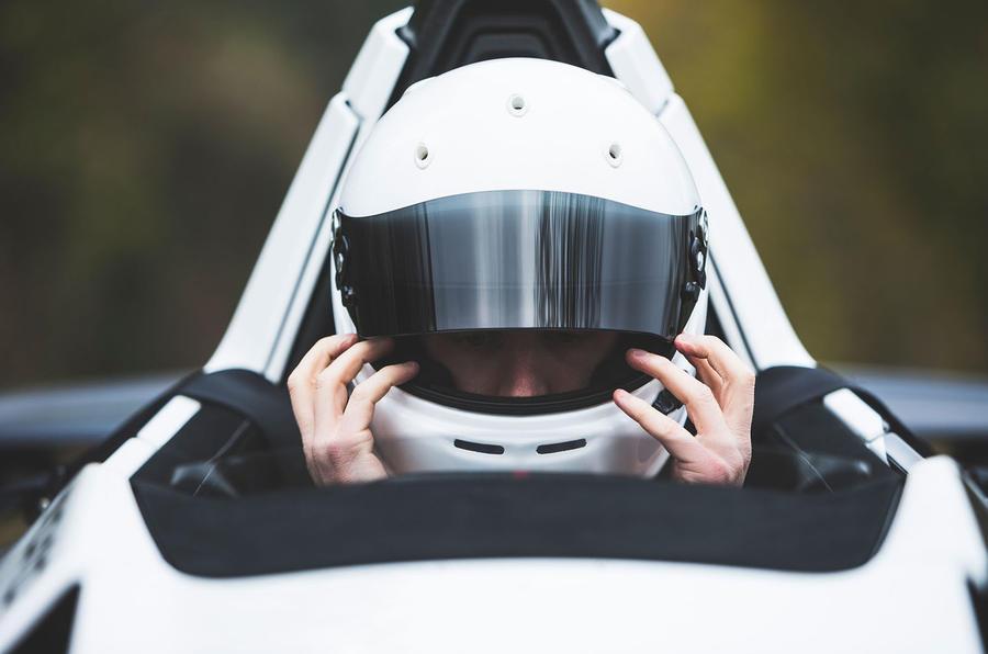 BAC Mono 2018 UK first drive review - Richard Lane helmet