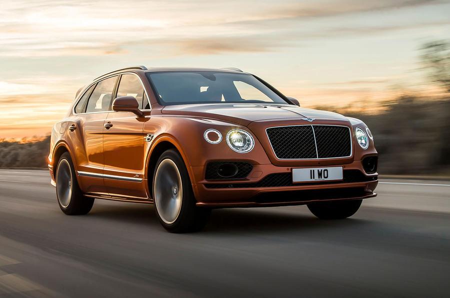 Bentley Bentayga Speed front three quarters in motion