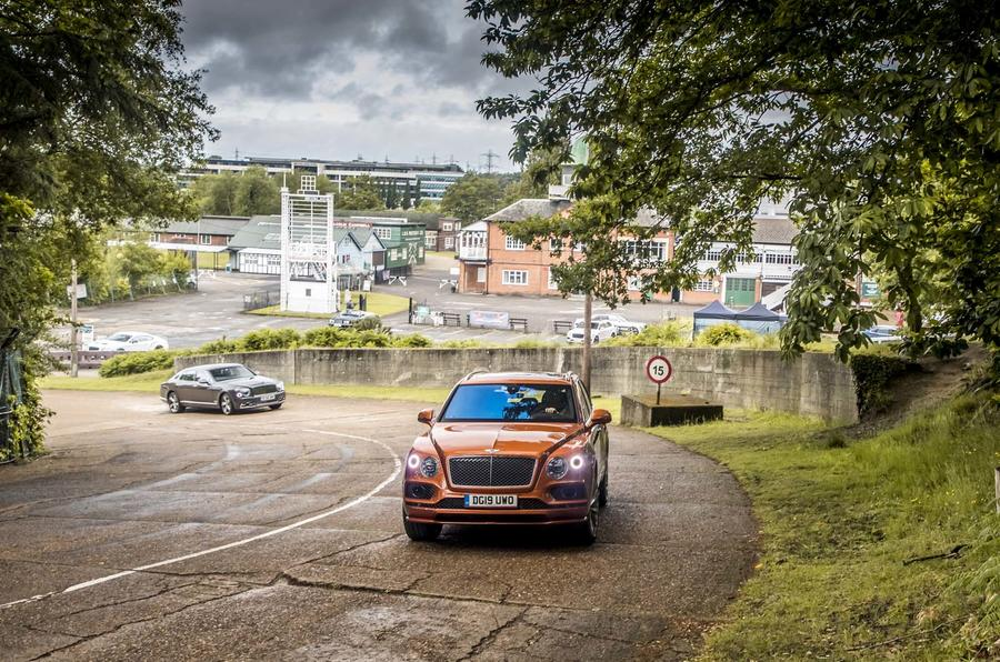 Bentley Bentayga and Mulsanne leave Brooklands