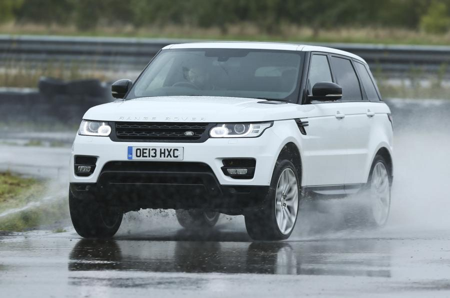 Range Rover in the rain