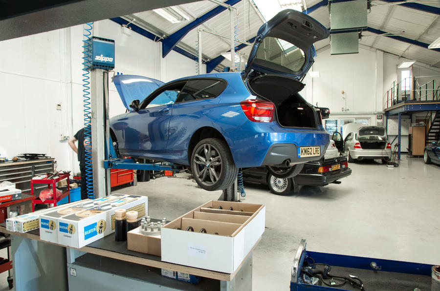 Used BMW M135i ramped up for suspension upgrade