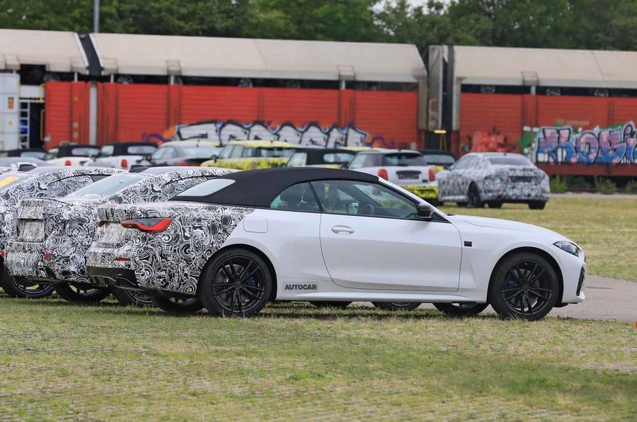 BMW 4 Series Convertible static spyshot side rear