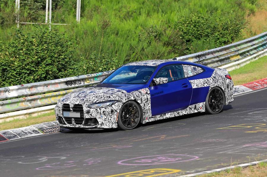 BMW M4 2020 spyshots front side track