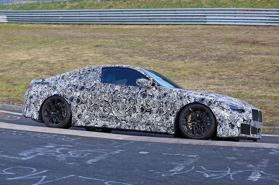 BMW M4 spyshots Nurburgring side front carousel