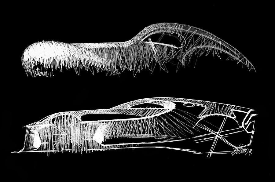Bugatti La Voiture Noire official press photos - sketches
