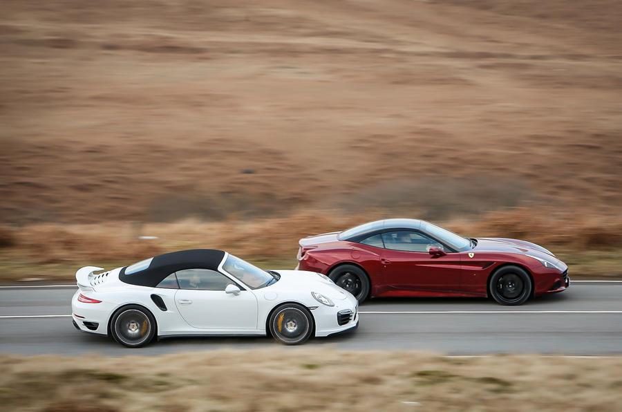 Ferrari California T vs Porsche 911 Turbo S, Aston V12 ...