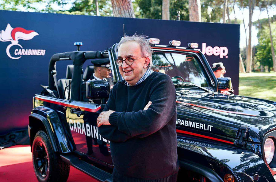 Sergio Marchionne at a ceremony presenting a new Jeep to the Italian Carabinieri