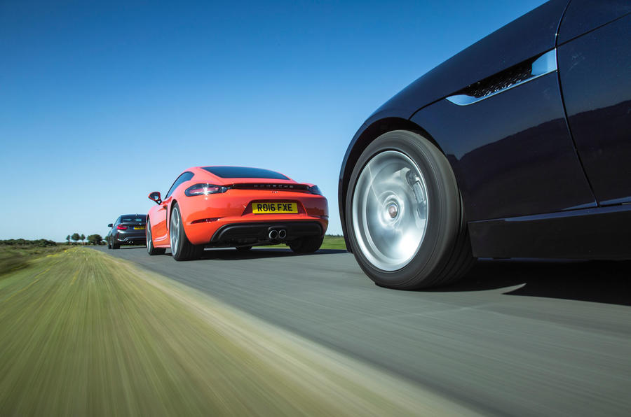 Porsche 718 Cayman S vs BMW M2 vs Jaguar F-Type: battle of the luxury sports cars