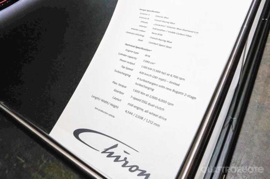 2016 bugatti chiron specs