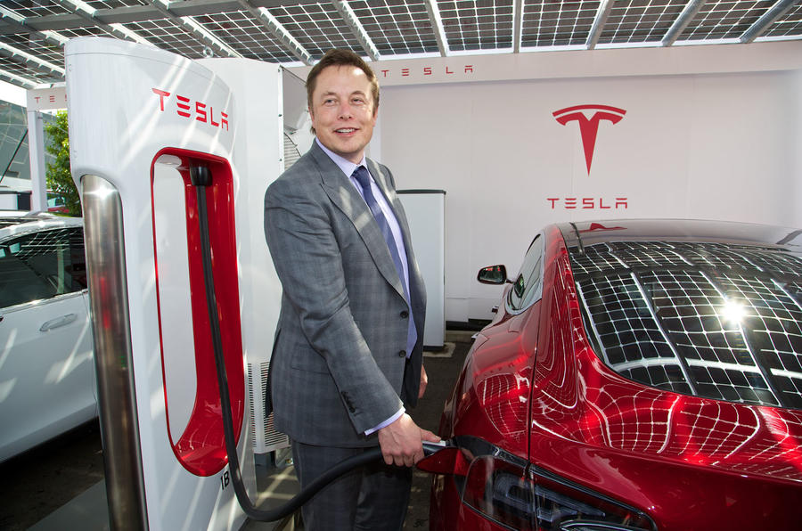 Elon Musk reveals UK's first supercharger charging point