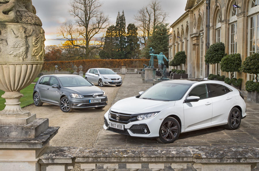 Honda Civic vs Peugeot 308 vs Volkswagen Golf: group test