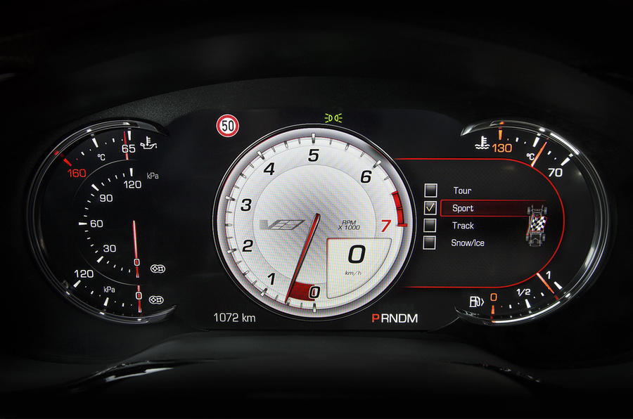 Cadillac CTS-V sports rev counter