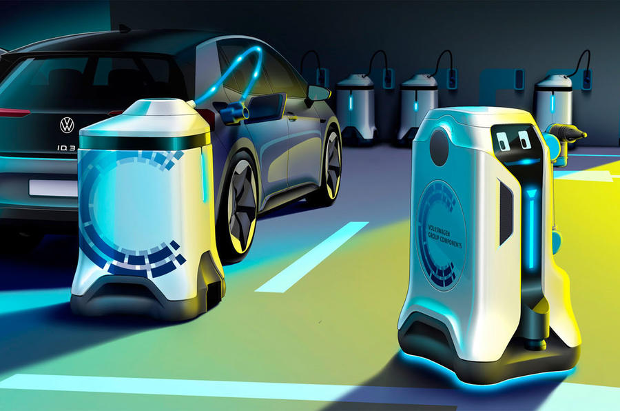 Volkswagen mobile robot revolutionises electric auto  charging
