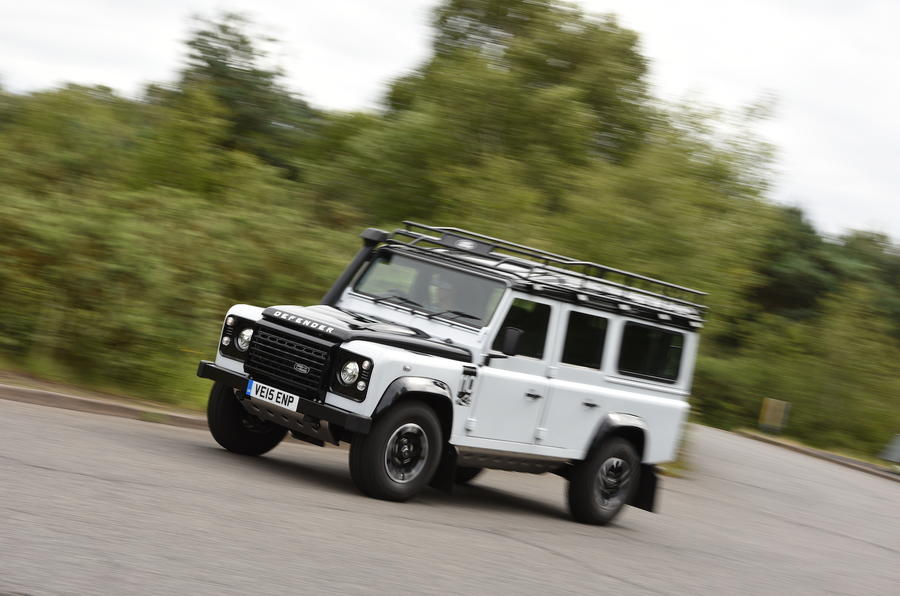 Land Rover Defender 110 hard cornering
