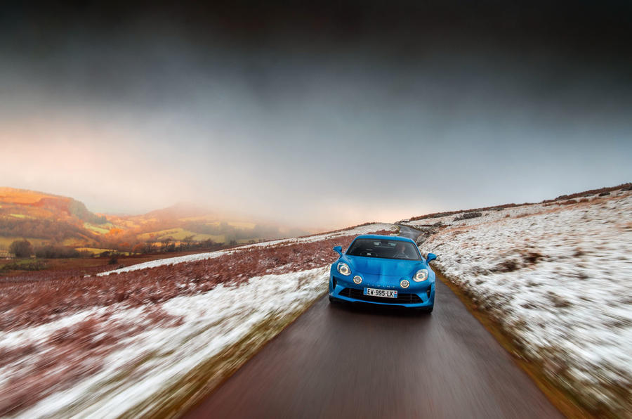 Alpine A110 B-road front