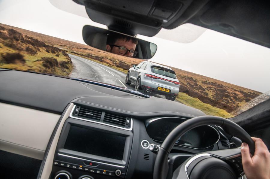 Porsche Macan vs Jaguar E-Pace 2019 - driving inside cabin