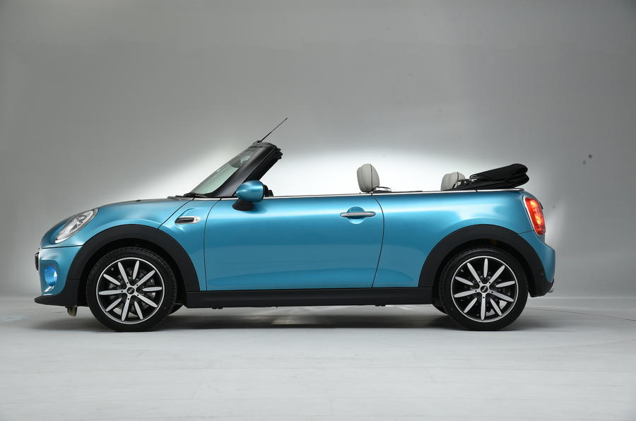 Roof down Mini Cooper Convertible