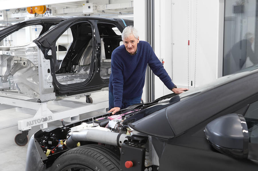 James Dyson with Dyson electric car