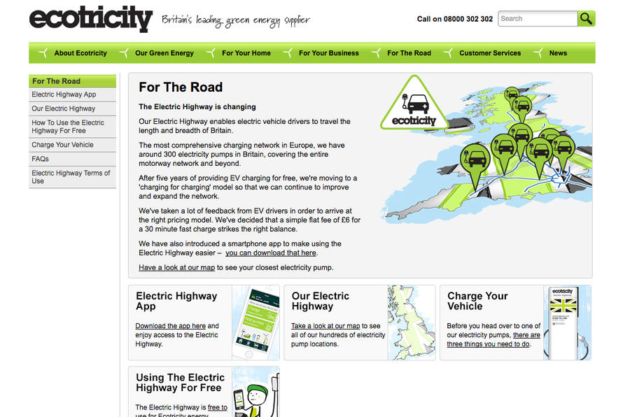 Ecotricity electric car charge website