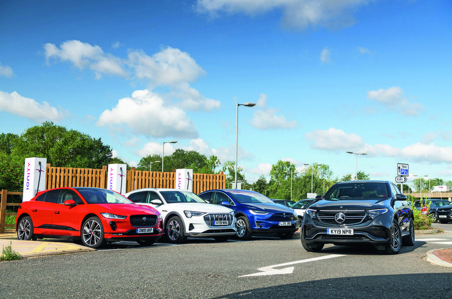 Mercedes-Benz EQC, Jaguar I-Pace, Audi E-tron and Tesla Model X charging
