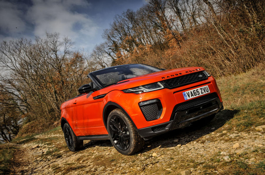 Land Rover Evoque Convertible roof down