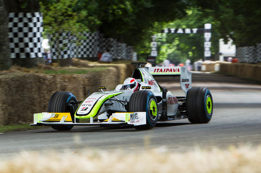 Jenson Button's Brawn GP F1 car from 2009 2016 Goodwood Festival of Speed