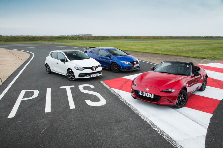 Mazda MX-5, Honda Civic Type R and Renault Clio RS200