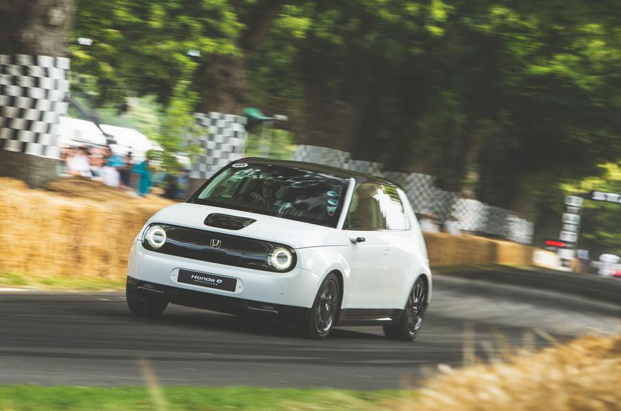 New Honda e: compact EV tackles Goodwood hillclimb